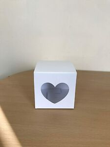 10 cm x 10cm Party Favour Card Gift Box with Heart Shaped Window x 10
