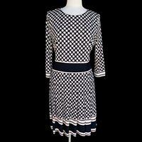ELIZA J Women's Size 12 Navy Beige Pleated 3/4 Sleeve Knee Length Sheath Dress