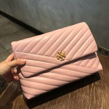 TORY BURCH KIRA CHEVRON FLAP SHOULDER BAG Pink Authentic