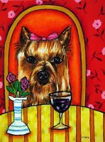 yorkshire terrier at the wine bar  dog art print gift 8x10