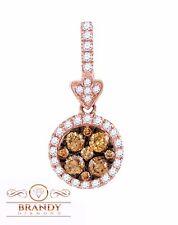 Brandy Diamond® Chocolate Brown 14K Ravishing Rose Gold Gorgeous Halo Pendant