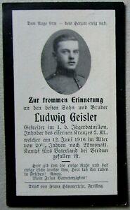 Sterbebild Bay. Jäger Btl. Verdun 1916