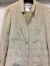 Authentic CHANEL Jacket Gray Boucle Full Lined Wool Chain Sz 42 US 4 S Altered