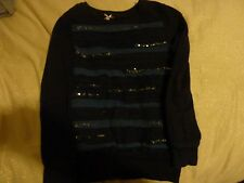 NEXT BLUE NAVY SPARKLY SEQUIN LONG-SLEEVED COTTON JUMPER TOP AGE 9