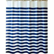 Blue&White Shower Stripe Fabric Bathroom Curtain - Waterproof and Polyester