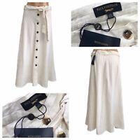 PAUL COSTELLOE Ivory Linen Blend Button Down Midi A-Line Skirt Size UK 14 NEW