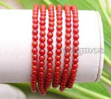 "6 strands 3-4mm Red Round Natural Coral Bracelet for Women Jewelry 7.5"" bra271"
