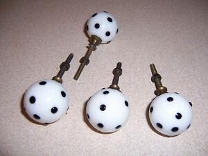 """4 VTG Milk Glass Polka Dot Ball """"Dice"""" Drawer Pulls/Knobs Lot #1"""