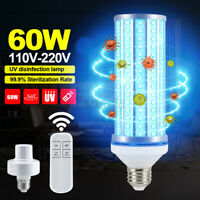 E27 195 LED UVC Bulb Household UV Germicidal Corn Lamp Disinfection 60W + Remote