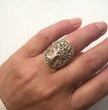 Sterling Silver Large Tree Of Life Ring Size L