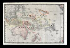 1892 Rand McNally Map Oceania Australia New Zealand Hawaii Malaysia New Guinea