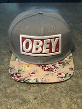 OBEY Grey And Pink Floral SnapBack Hat