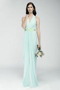 Watters Rimini Mint Aqua Maxi Long Formal Halter Grecian Dress NWT Sz 14