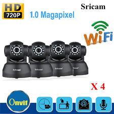 4X Sricam 720P Wifi 1.0 MP H.264 Wireless PT ONVIF CCTV Security IP Camera Black