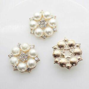 10pcs/set 25mm Flower Rhinestones Buttons Pearl Button Diy Alloy Diamond Sewing