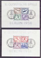 Deutsches Reich 1936 - Olympia Block 5 + 6 Erst. Stempel - Michel 180,00 € (374)