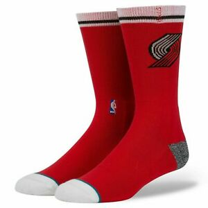 Mens Stance NBA Portland Trail Blazers Classic Clique Crew Socks 558 Red NWT