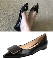 NIB Vince Camuto VC SIGNATURE VI-ABY black Leather point toe flat 7 8