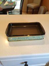 Vintage Pyrex #232 Amber FireSide Glass Lasagna Casserole Dish & Harvest Holder