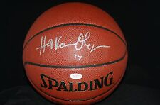 HAKEEM OLAJUWON AUTOGRAPHED SPALDING I/O NBA BASKETBALL + BALLQUBE JSA AUTH