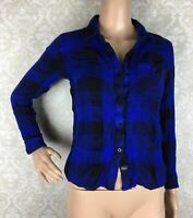 Rails Hunter Blue Black Plaid Flannel Shirt Sz Small S