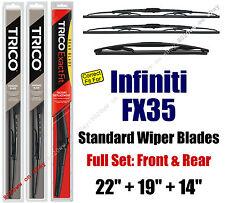Wiper Blades 3pk Front Rear Standard fit 2009-2010 Infiniti FX35 - 30221/190/14B