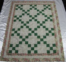 """Irish Chain """"Green Floral 1"""" Quilt Top~PIECED~PATCHWORK~Baby,Wall,Lap  40""""X52"""""""