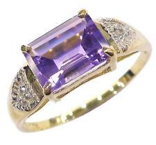 10KT YELLOW GOLD OCTAGON AMETHYST & DIAMOND RING SIZE 7    R1268