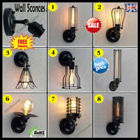 BIG SALE! Edison Industrial Vintage Wall Light Sconce Clear Wire Shade Wall Lamp