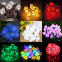20LED Rose Flower Fairy String Lights Lamp Xmas Wedding Garden Party Home Decor