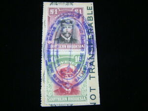 Southern Rhodesia 10 Shillings And One Pound Revenue Issues On Piece Nice!!