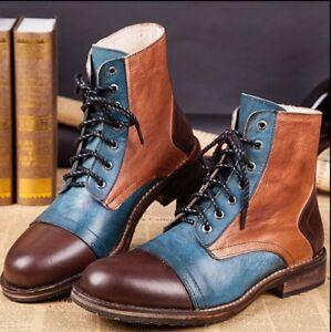 Retro Mens Match Color Split Color Leather Ankle Boots Lace Up Boots Party Shoes