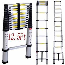 12.5Ft Aluminum Telescoping Telescopic Extension Ladder Tall Multi Purpose EN131