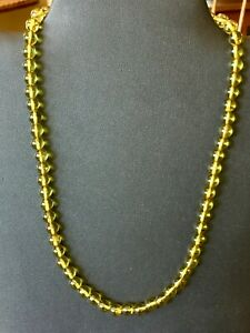 """Copal amber 10k Gold Necklace 18"""" Golden 7mm beads polished honey baby amber"""