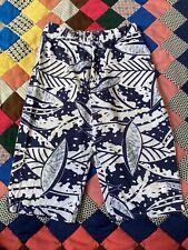 Vtg Cal Surf Swim Trunks Made In Usa Blue & White Tropical Leaf Board Shorts 🌊