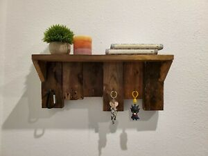 Recycled Pallet Wood Shelf / Key Hanger Handcrafted