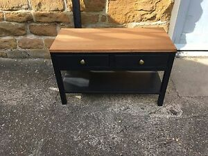 BESPOKE H50 W80 D35 COFFEE TABLE HALL UNIT STAND BLACK REAL OAK warm oak top