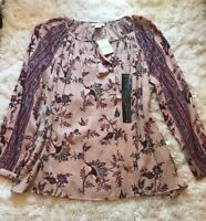 NWT! Women's Lucky Brand Paisley Floral Peasant Boho L Top Shirt Blouse.
