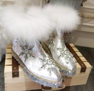 Womens Real Fur Bling Rhinestone Mid Calf Snow Boots Winter Shoes Wedge Heel