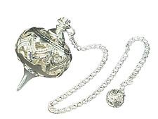 More details for metal pendulum filigree divination dowsing cage ornate decorative silver tone