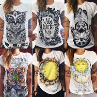 Fashion Print Womens Summer Tops Loose Tee Short Sleeve T shirt Casual Blouse