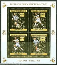 CONGO 2013  BRAZIL WORLD CUP SOCCER 2014  GOLD FOIL  MINIATURE SHEET  MINT NH