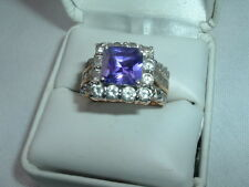 VINTAGE SQUARE CUT AMETHYST RHINESTONE ART DECO RING, SIZE 8 IN RING BOX