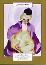 GREETING CARD spiritual art JALAUDDIN RUMI Saints and Sages gold border elegant