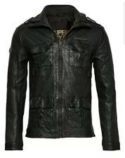 "Mens Superdry Icon Brad Black Leather Jacket Medium 38"" (97cm) RRP £229 BNWT"