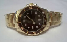 NEW Men's Geneva Goldtone and Maroon Submariner Luxury Watch + Free Battery