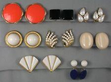 LOT - 8 Pr Crown Trifari Lucite Earrings