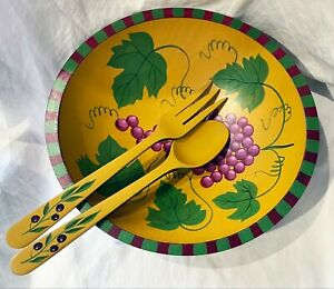 Sherwood Forest Design New York Wooden Salad Bowl 12x11x3 Grapes w/ Cutlery
