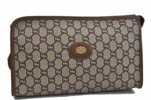 Authentic GUCCI GG Plus Clutch Bag PVC Leather Brown B7080