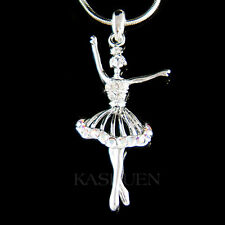 w Swarovski Crystal ~Clear BALLERINA~ Ballet Crown Necklace The Nutcracker Lover